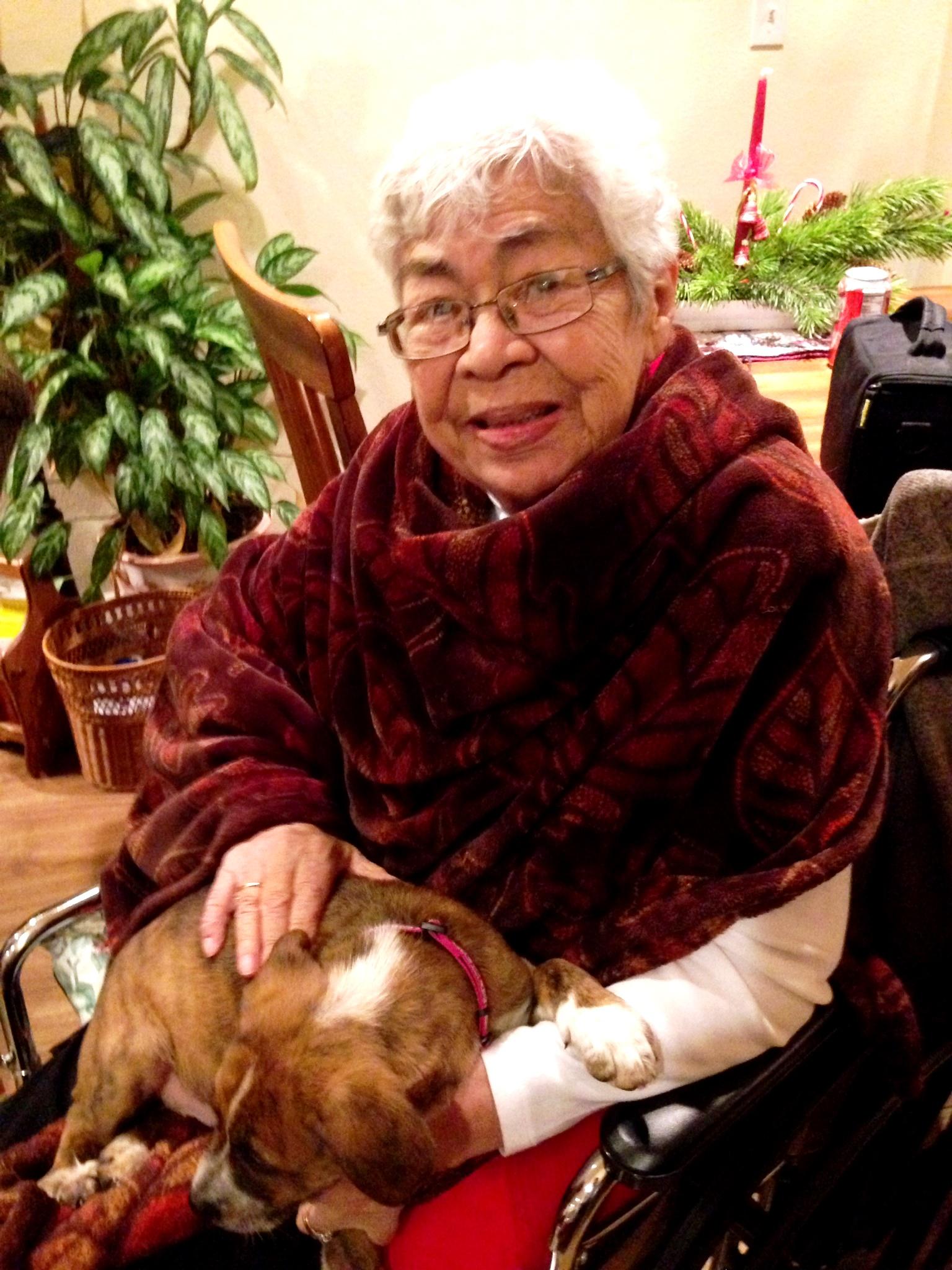 Gram holding puppy 1